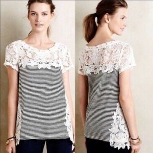 Anthropologie Meadow Rue striped lace trimmed top